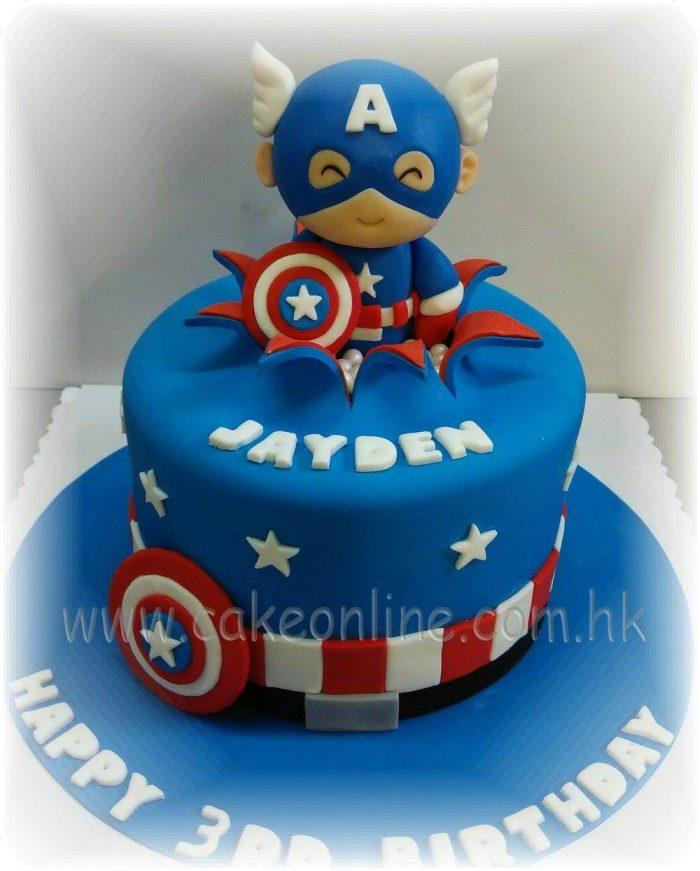 Cutie Captain America cake Q板美國隊長蛋糕